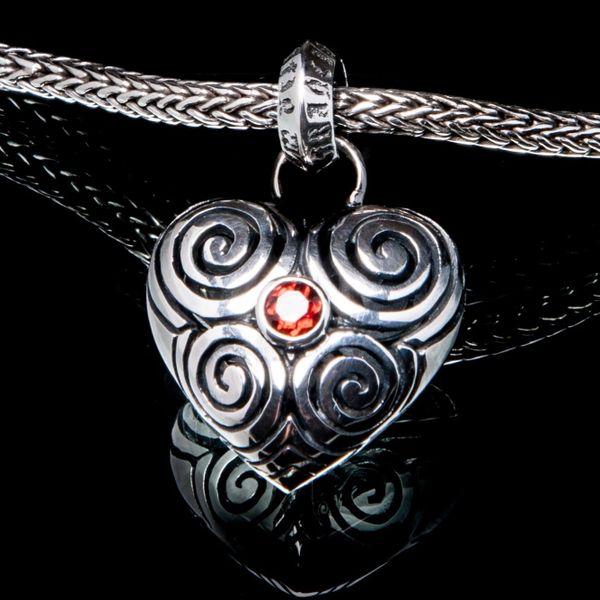22A. Heart - Sterling Silver & Garnet Pendant