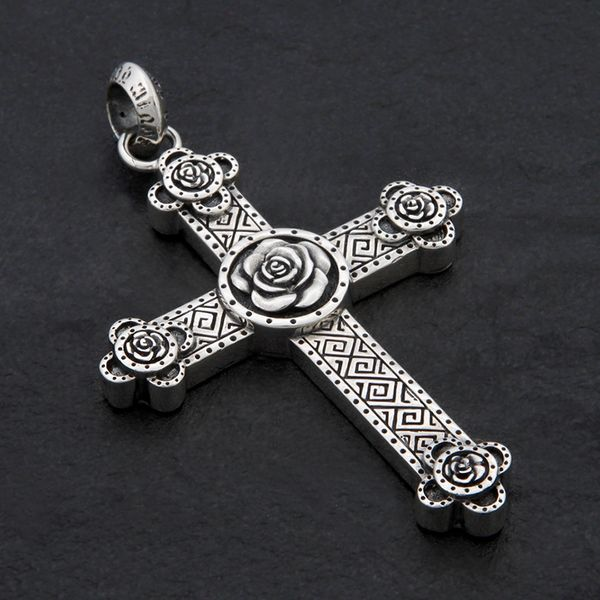 45. Cross and Roses - Sterling Silver Pendant
