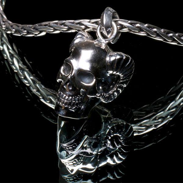 53. Horned Skull - Sterling Silver Pendant