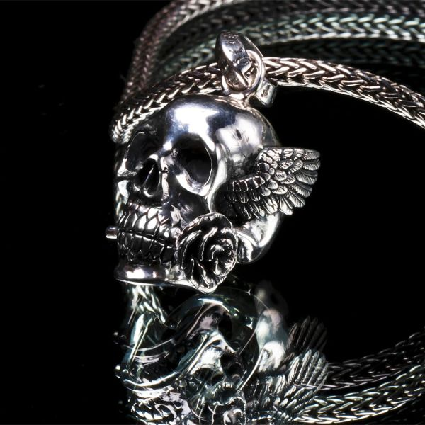 55. Winged Skull and Rose - Sterling Silver Pendant