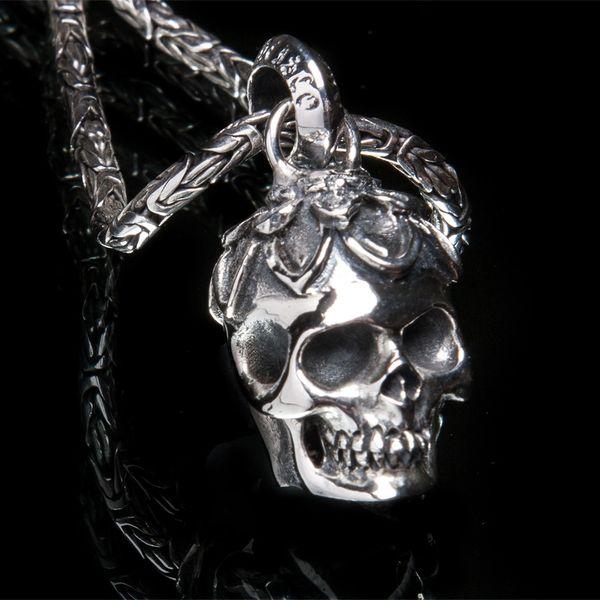 66. Lotus Skull - Sterling Silver Pendant