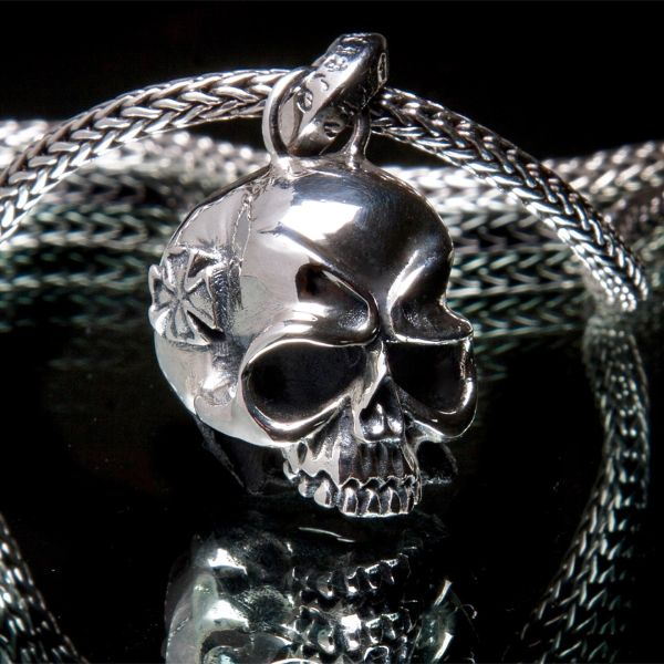 70. Skull and Maltese Cross - Sterling Silver Pendant