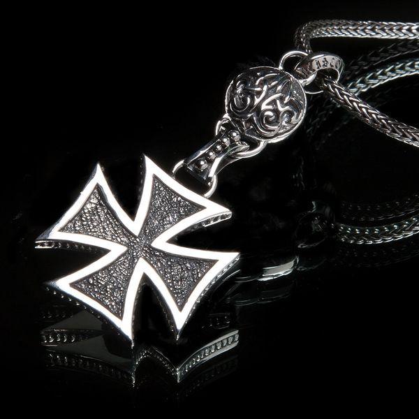 76. Maltese Cross & Fleur de Lis - Sterling Silver Pendant