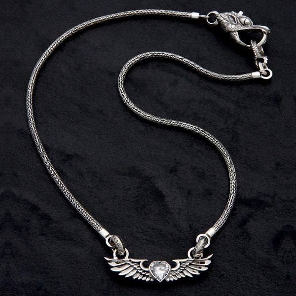 63. Heart with Wings - Sterling Silver & Cubic Zirconia Necklace