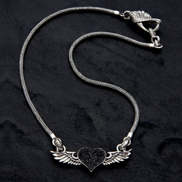63. Heart with Wings - Sterling Silver & Pyrite Necklace