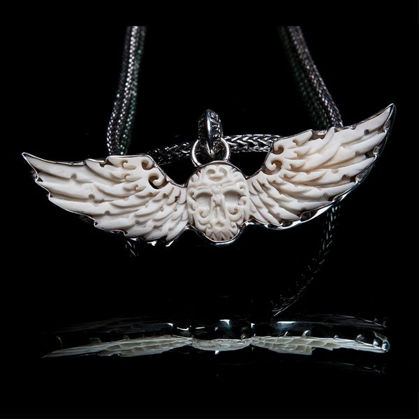 36. Skull and Wings - Sterling Silver Bone Pendant