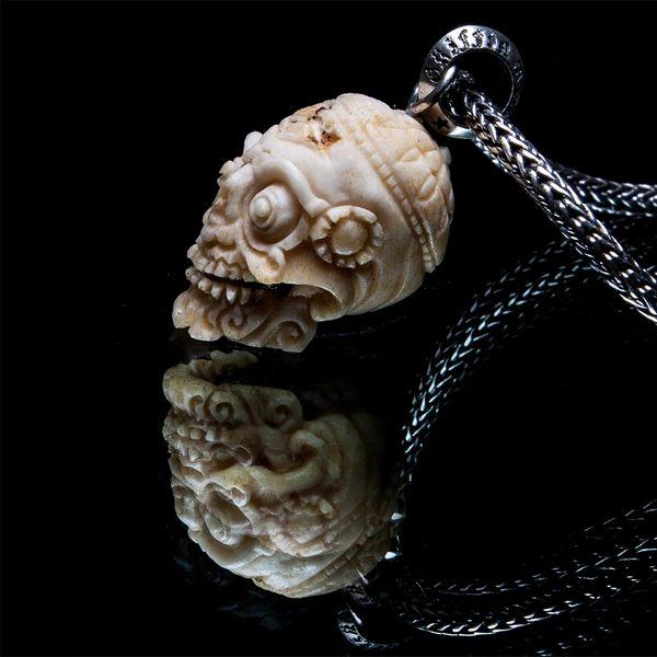 56. Tibetan Skull - Sterling Silver & Bone Pendant
