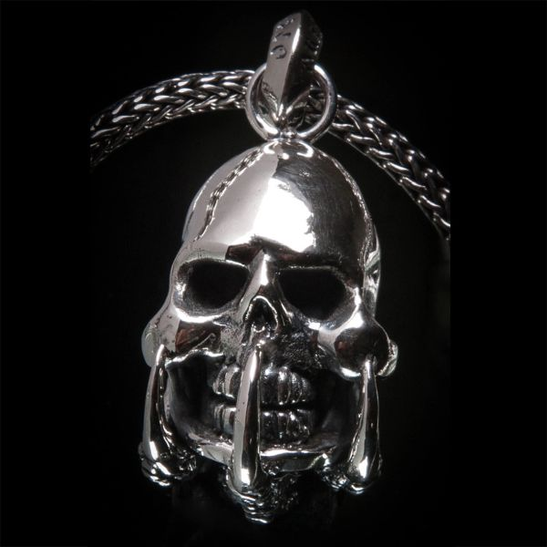 68. Skull and Claws - Sterling Silver & Water Buffalo Horn Pendant