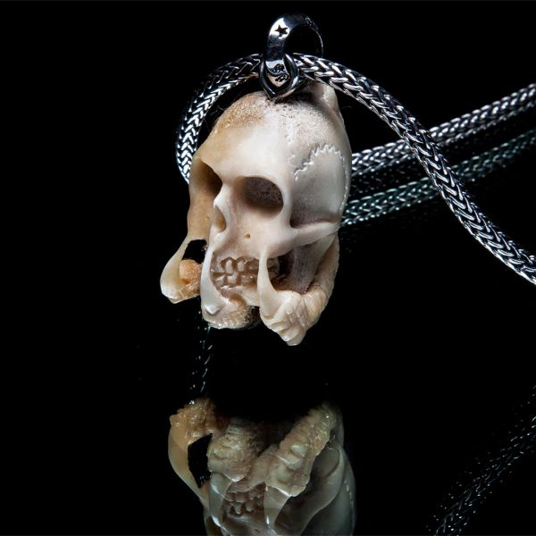68. Skull and Claws - Sterling Silver & Bone Pendant