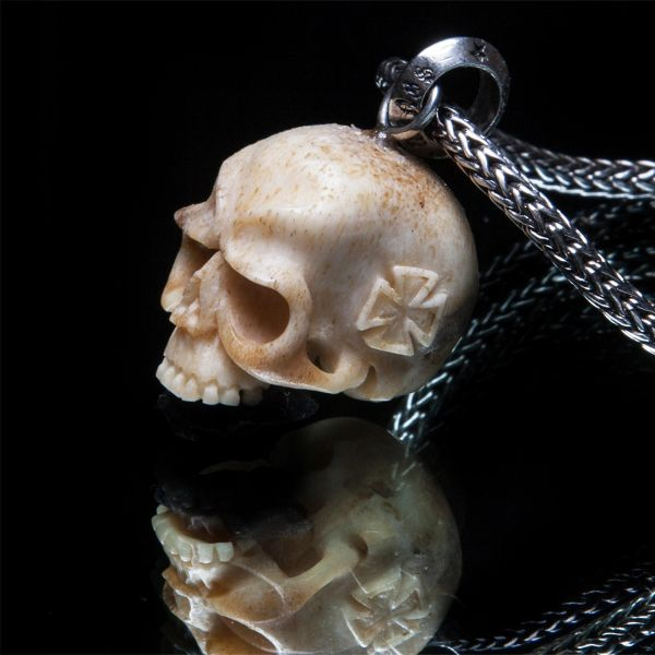 70. Skull and Maltese Cross - Sterling Silver Bone Pendant