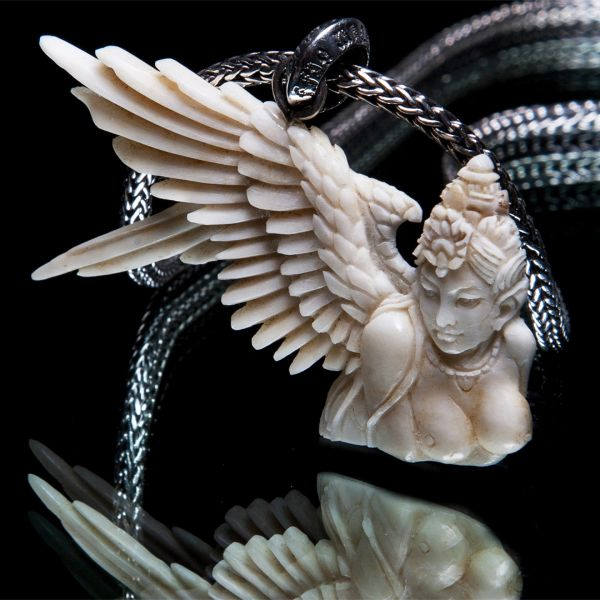 73. Angel 2 - Sterling Silver & Bone Pendant