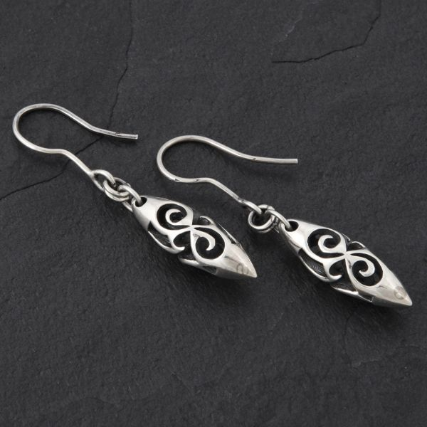 13. Geo-013 - Sterling Silver Drop Earrings