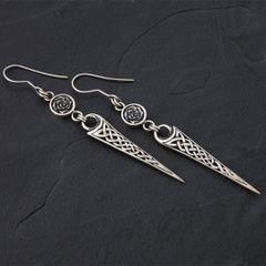 23C. Celtic Rose - Sterling Silver Drop Earrings