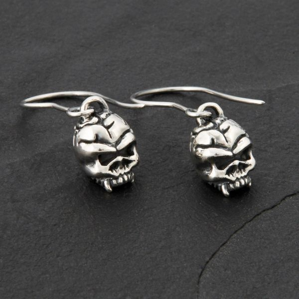 44. Skulls - Sterling Silver Drop Earrings