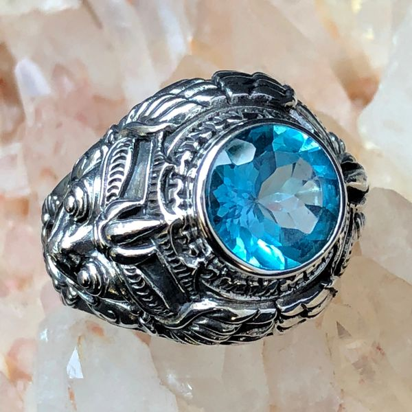 61. Garuda - Swiss Blue Topaz Sterling Silver Ring