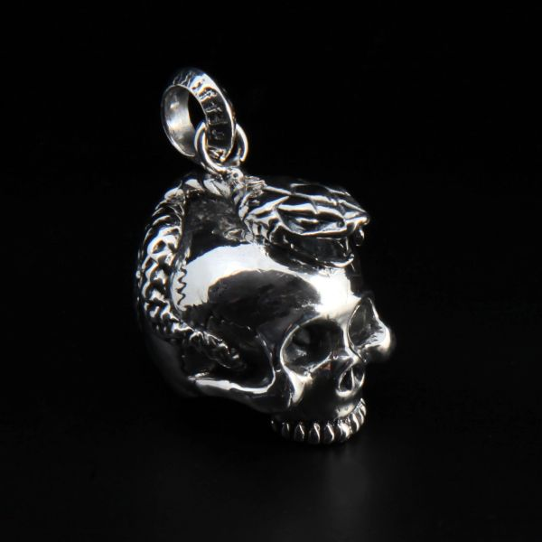 81. Skull and Snake - Sterling Silver Pendant