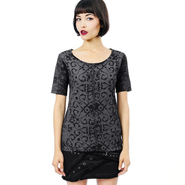 Adelaide Top Short Sleeves - Black Dragon