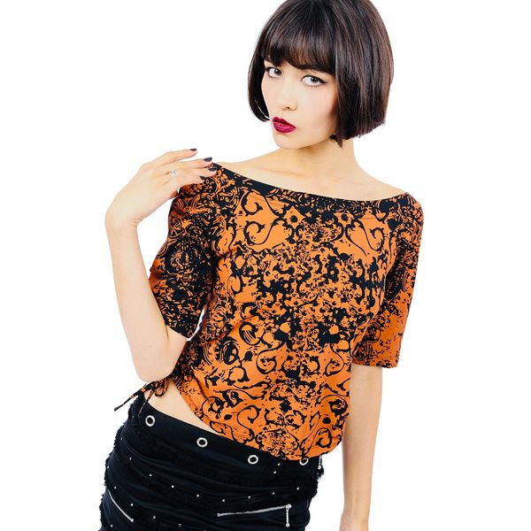 Bianca Top Short Sleeves - Orange Dragon