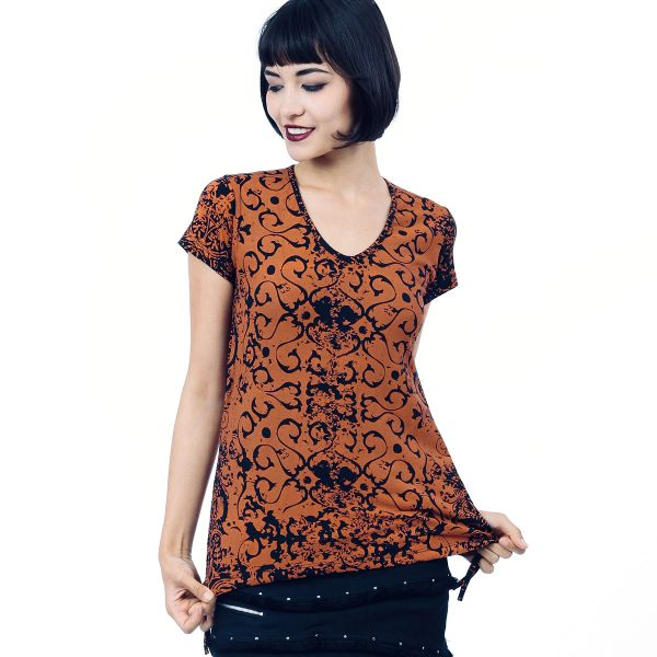 Destiny Top Short Sleeves - Orange Dragon