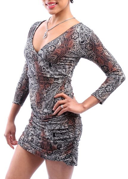Dress 12 - Paisley Ruched Bodice Mini Dress