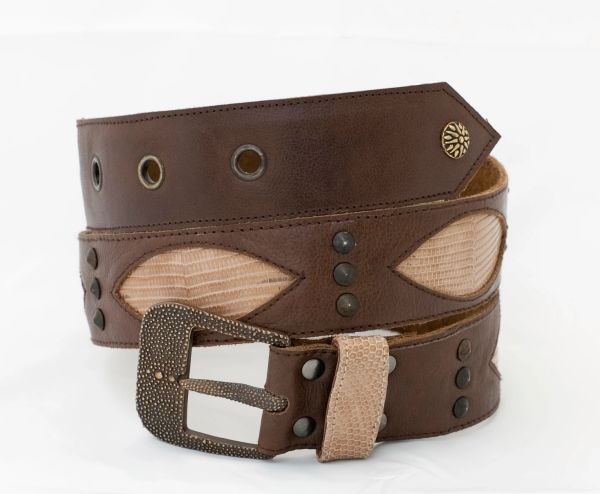 Brown Lizard - Leather Belt - 1C