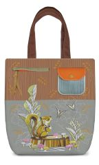 Squirrel - Embroidery Canvas Shoulder Tote