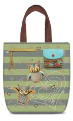 Owl Embroidery Canvas Shoulder Tote