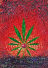 Cannabis Leaf Canvas Print by Mohan