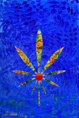 Cannabis Leaf Canvas Print by Mohan 4