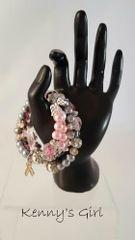 Sparkling gray & pink awarness bracelet