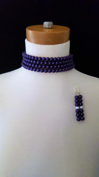 Purple Beaded Choker Set
