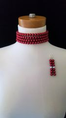 Red beaded Choker Necklace