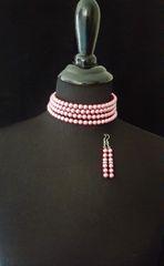 Pink Beaded Choker Necklace Set