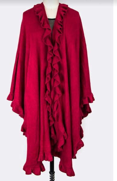 Red Ruffle Cardigan