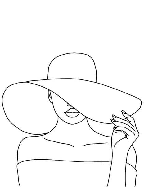 A Girl And Her Hat-Pre-Drawn Canvas Only