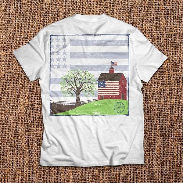 Barn With Flag - White