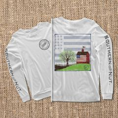 Barn With Flag - White - Long Sleeve