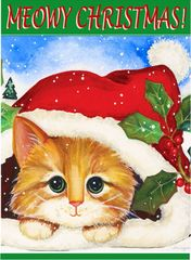 """Cat with a Santa hat House Flag for Christmas 28""""x40"""""""