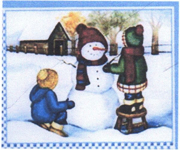 "Children & a Snow man Flag for Winter 12""x18"""