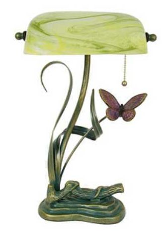"GH8155-15.5"" Green Shade Banker Lamp"
