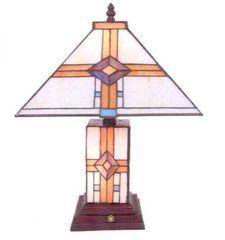 "17"" Geometric Tiffany Lamp"