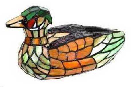 "17""Lx6.25H Tiffany Style Mallard Duck Lamp"