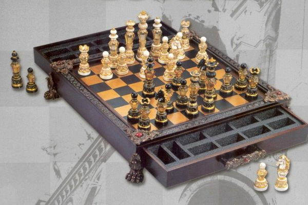 Provincial Splendor Chess Set - w/Drawers