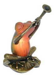 """6.5"""" Frog with Trumpet Lamp"""
