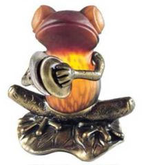 """6.75"""" Frog with Cymbals Lamp"""