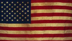 "American Flag Tea-dyed Applique & Embroidered 28"" x 50"" House Flag"