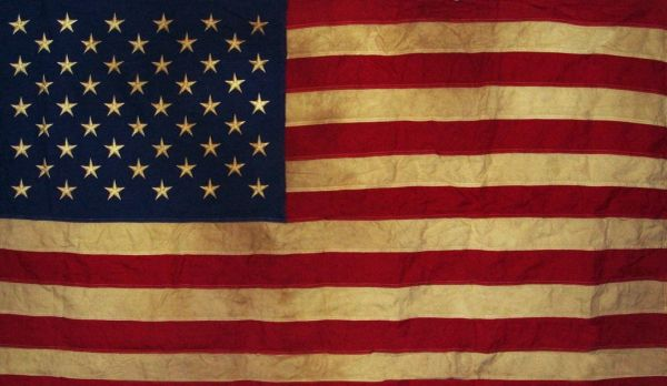 """FA2850A-American Flag Tea-dyed Applique & Embroidered 28"""" x 50"""" House Flag"""