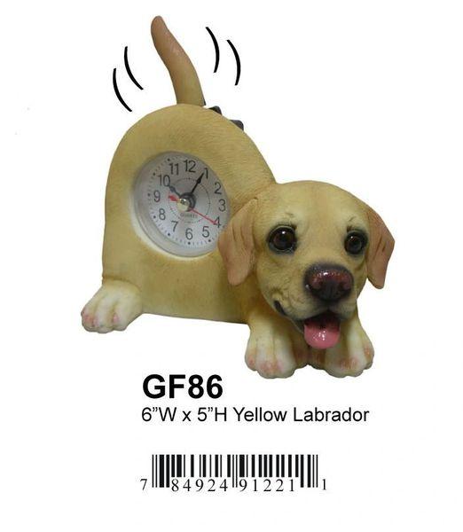 "YELLOW LAB DOG CLOCK 6""W x 5""H"