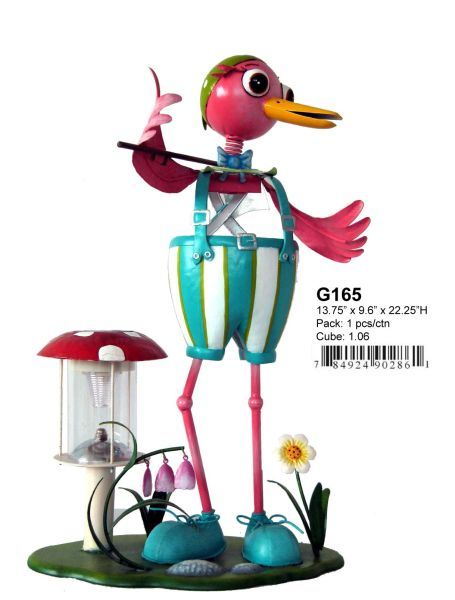 "G165 13.5"" x 9"" x 24""H BOY BIRD SOLAR LIGHT"