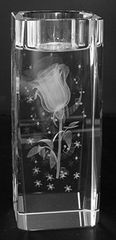 AIE LASER CUT CRYSTAL CANDLE HOLDER ROSE